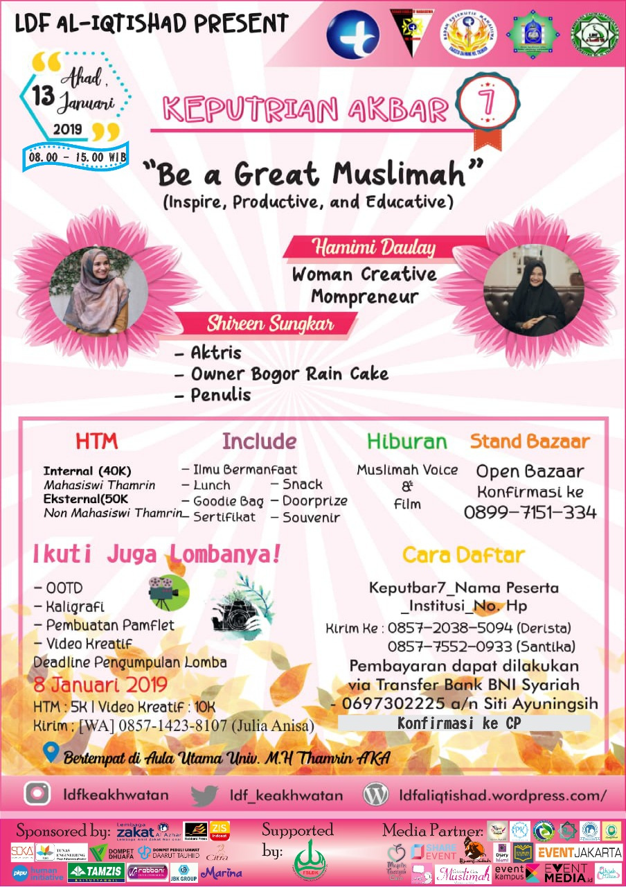 KEPUTRIAN AKBAR 7 Be A Great Muslimah (Inspire, Productive, Educative)
